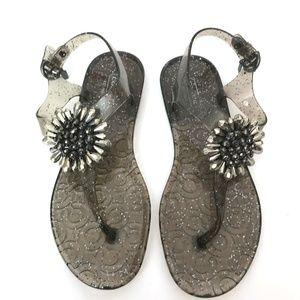 COACH Hilda Gray Glitter Jelly Flower Sandals